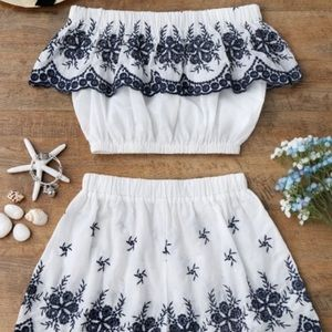 Off Shoulder Embroidered Crop Top and Shorts
